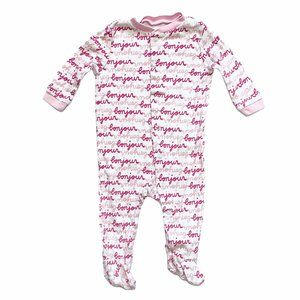 JF Pink Bonjour Print Footed Cotton PJ's